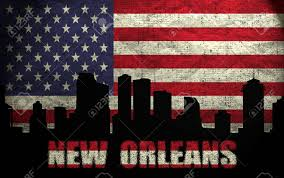 New Orleans Flag View Of New Orleans City On The Grunge American Flag Stock Photo