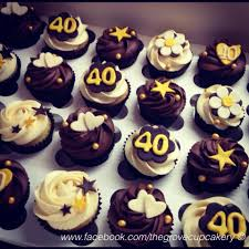 cupcakes gold brown cream themed 40th birthday mini cupcakes with