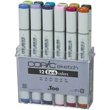 extra color set of 12 copic sketch marker pens ex 6 set in art