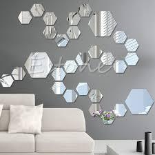 mirror decals home decor 12pcs 3d mirror decal hexagon vinyl removable wall sticker home