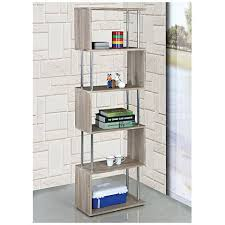 5 Shelves Bookcase Snake Beech Wood And Chrome 5 Shelf Bookcase 9v625 Lamps Plus