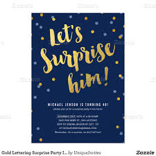 gold lettering surprise party invitations for him surprise party