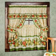 Washable Curtains Retro Kitchen Curtains Multicolor Fruits Curtain Polyester
