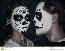 couple in love with halloween face art stock photo image 46055672