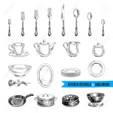 Kitchen Utensils And Tools by Vector Hand Drawn Illustration With Kitchen Tools Sketch Royalty