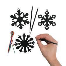 black magic color scratch snowflake ornaments