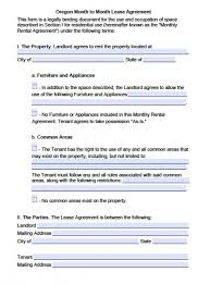 free oregon month to month lease agreement pdf word doc
