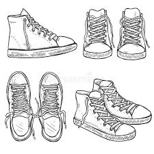 vector set of sketch high gumshoes side top and front views
