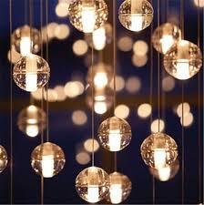 Ball Chandelier Lights Modern Clear Air Bubble Meteor Shower Crystal Ball Pendant Light
