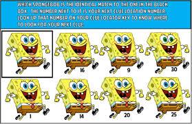 printable spongebob treasure hunt party game