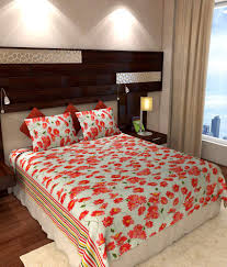 Buy Double Bed Sheets Online India Home Candy Red Floral Cotton Double Bed Sheets With 2 Pillow