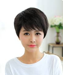 party hair style for aged women straight short wig side bangs cosplay party hair for middle aged