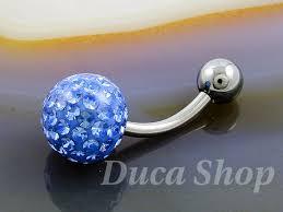 piercing buric aur piercing pentru buric model de argint zirconiu albastru cod 393