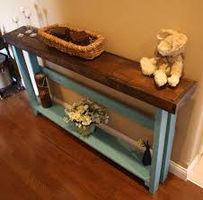 Narrow Entry Table by Unique Primtiques Dark Walnut Stained Mountain Blue Painted 5 Foot