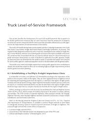 section 6 truck level of service framework incorporating truck