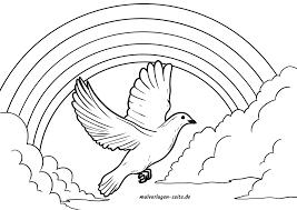 Coloriage colombe de la paix avec arcenciel  Coloriage gratuit à