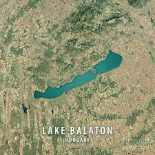 Satellite View Map Lake Balaton 3d Render Satellite View Topographic Map Digital Art