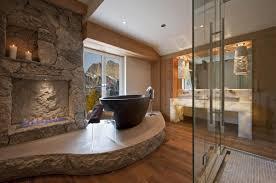 stone tile bathroom glass shower room mix towel bar black stone