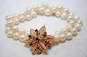 pearl bracelet with gold clasp images 1950s vintage designer double strand pearl bracelet with garnet jpg