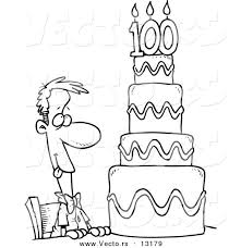 vector cartoon hungry guy drooling 100 birthday cake