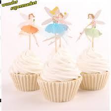 Angel Decorated Cake 24pcs Angel Fairy Cupcake Topper Picks Kids Birthday Decoration