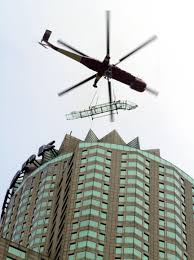 this morning a helicopter hoisted a glass slide