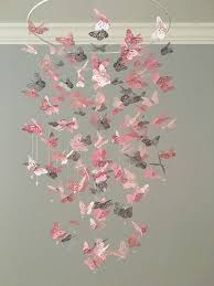 luminaire chambre bebe fille monarch butterfly chandelier mobile a touch of gray nursery