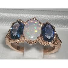 light blue sapphire engagement rings 9k gold genuine fiery white opal light blue sapphire