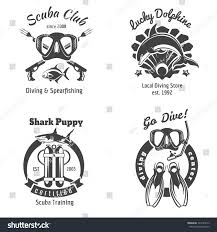Swimming Logos Free by Scuba Diving Club Labels Set Underwater Stock Vector 324149213