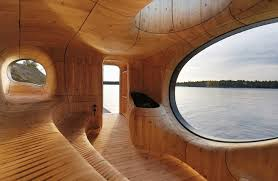 Wooden Interior Gorgeous Grotto Sauna Boasts Stunning Lakeside Views And A Wooden