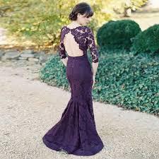 3 4 sleeve bridesmaid dresses mermaid grape 3 4 sleeves bateau open back lace bridesmaid