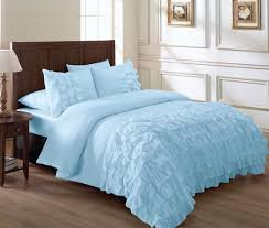 Light Blue And White Comforter Bedding Luxury White Lace Ruffle Font Ruffled Pillow Cases Smooth