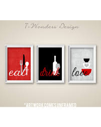 black and white prints for kitchen etsy 7wondersdesign kitchen wall print set eat drink grey black white modern decor of 3 unframed prints or canvas from etsy