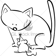 cartoon doodle cat mouse coloring gl stock images