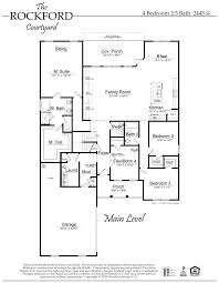 5 Bedroom Floor Plans 1 Story by The Rockford Courtyard Floor Plan Al New Home Construction