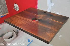 Floating Wood Shelves Diy by Diy Walnut Floating Shelf Sink Vanity House Updated