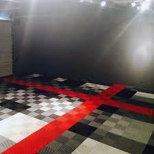 interlocking garage floor tiles black and grey checkered design