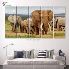 5 piece canvas art home decor wild elephant family wall canvas