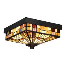 Outdoor Flush Mount Ceiling Light Quoizel Tfik1611va Inglenook 2 Light Tiffany Style Outdoor Flush