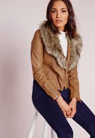 missguided faux leather biker jacket with faux fur collar tan in