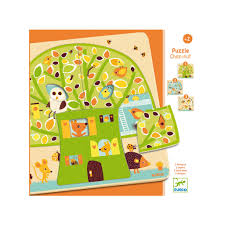 djeco tree house wooden 3 layer puzzle earth nest
