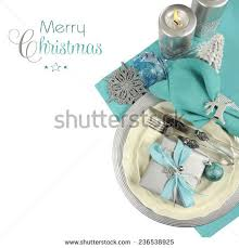 Christmas Table Decorations In Blue And Silver by Christmas Table Setting Theme Stock Images Royalty Free Images