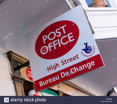 bureau change post office sign advertising bureau de change currency exchange