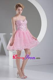 pink short sweetheart princess prom dress with beading