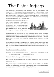 plains indians worksheet history