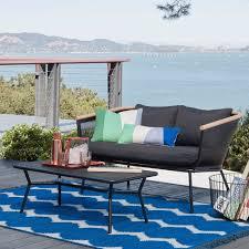 target coffee table set bangor 2pc metal mesh faux wood patio loveseat coffee table set