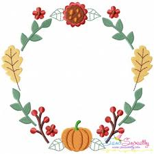 fall wreath 1 machine embroidery design for thanksgiving and fall