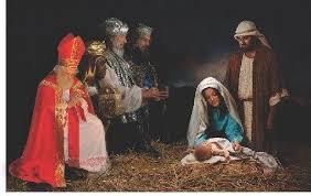 santa kneeling at the manger st nicholas