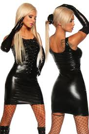plus size xxl super women black leather latex dress deep v