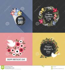 mothers day card with pretty birds assortment of flowers stock